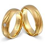Juwelier Schönschmied - Zwei Titanringe Partnerringe Trauringe Golden River Titan Zirkonia inkl. persönliche Wunschgravur 54-56 NrT19HD
