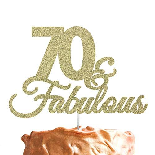 Decoración para tarta de 70cumpleaños, con purpurina, texto en inglés «70 & Fabulous»
