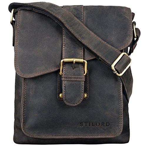 STILORD 'Mattia' kleine Umhängetasche Herren Leder Vintage iPad Hülle 10,1 Zoll Tablettasche Schultertasche Messenger Bag Rindsleder Antik, Farbe:dunkel - braun -