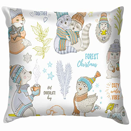 beautiful& Christmas Cute Forest Animals Fox Owl Wildlife 2019 Holidays Funny Square Throw Pillow Cases Cushion Cover for Bedroom Living Room Decorative 18X18 Inch (Doodles 2019 Halloween)