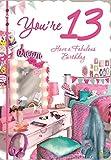 Cards Galore Online Alter 13Mädchen Geburtstagskarte–Pink Schlafzimmer, Schminktisch & Wimpelkette 19,1x 13,3cm