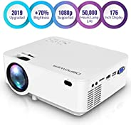 DBPOWER Mini Projector, 1080P Full HD LED Movie Projector, 50,000 Hours Lamp Life Home Theater Video Projector with HDMI Cab