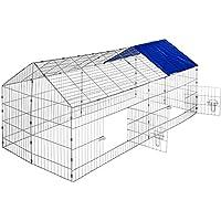 TecTake Jaula recinto para conejo ejecutar con parasol exterior animales 180 x 75 x 75 cm - disponible en diferentes colores - (Techo azul   no. 402419)