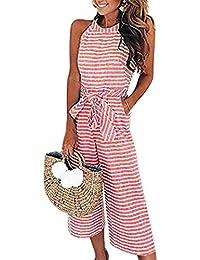 Bellelove ♥ Damen Ärmelloses Gestreiftes Jumpsuit beiläufiges Kleid der  Frauen Breite Bein-Hosen Stellte Damen-Reizvollen Gestreiften Overall… f35a5f67bb