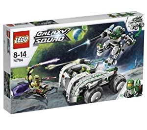 LEGO Vermin Vaporizer - 70704 70704 (The alien scorpion is on the rampage with a cocoon to capture the green Galaxy Squad heroes! Help green team leader Chuck Stonebreaker and his robot sidekick to bust the buggoid in the awesome Vermin Vaporizer! Tag team the alien invader when you activate the split function to turn the Vermin Vaporizer into a mighty mech and a battle buggy! Fire the mech's dual flick missiles and powerful cannons… )