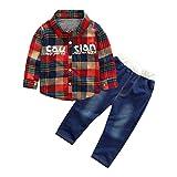 Mounter Ensemble Bébé, Bébé Garçon Manches Longue [ Carreaux ] Chemise + Bleu Jeans Costume (2 Ans, Rouge)
