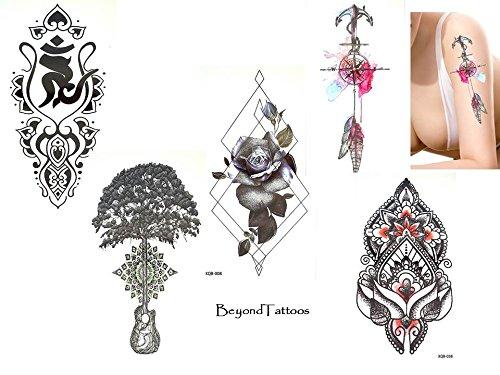 5 feuilles top Trend lignes Tatouages Tattoo Line Tattoo Set Couleurs Tattoo Eau x1 Rose Boussole coton Mandala graphique tatouage Faux tatouages