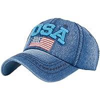 Gorras de beisbol ❤️Amlaiworld Hombre mujer Gorra de béisbol USA Rhinestone  Denim Viseras Gorra de 9c16008159a