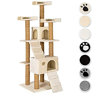 TecTake Large cat tree with scratching post activity center 169cm | 3 platforms | 2 caves - different colours -