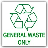 General Waste Only-Recycling Bin Adhesive Sticker-Recycle Logo Sign-Environment Label by Platinum Place