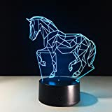 GZXCPC Puzzle Pferd 3D Nachtlicht Touch Tischlampe 7 Farbe Illusion Lampe Acryl Board ABS Basis USB-Ladegerät