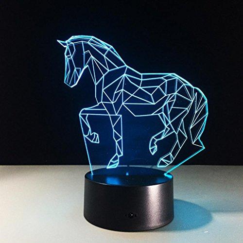 GZXCPC Puzzle Pferd 3D Nachtlicht Touch Tischlampe 7 Farbe Illusion Lampe Acryl Board ABS Basis USB-Ladegerät (Spiel Der Illusionen)