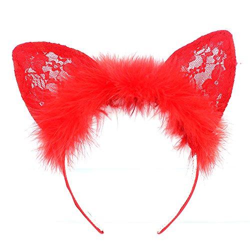 Haarband mit Tier-Ohren Halloween Cosplay Kostüm Zubehör – Flauschige, lange Katzenohren, (Katze Halloween Ohren Zubehör)