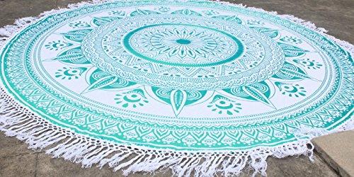 Rama Green Tassel Fringe Ombre Round Mandala Beach Throw Yoga Mat Roundie Table Cloth Hippy Hippie Boho Gypsy Wall Hanging Ombre Fringe