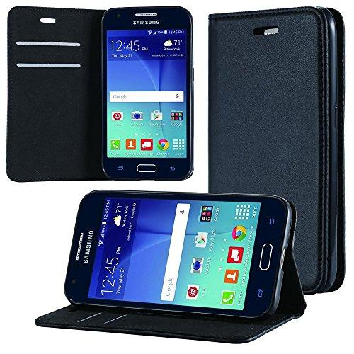 ECENCE Handyhülle Schutzhülle Case Cover kompatibel für Samsung Galaxy J1 (2016) Handytasche Schwarz 12040304