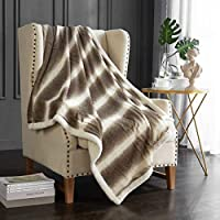 Dreaming Casa Sherpa Throw Blanket Double Graded Brown Fleece Bed Blanket Warm Soft Easy Care for Sofa Couch Chair Reversible Microfiber Solid Gift Spring Living Room 130 x 150cm