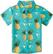 NEWISTAR Camisa hawaiana para niños con impresión 3D de verano de manga corta con botones para niños y adolesc