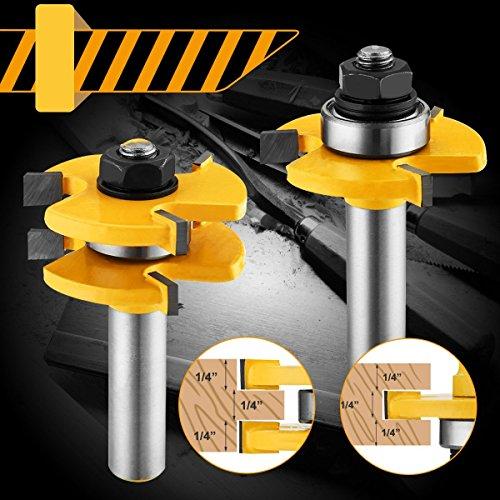 2 Stücke Fräser Set von Baban Fräser 12.7mm 1/2 Zoll Schaft T-Typ Holzschneider Holzbearbeitungswerkzeug für Graviermaschine Trimmmaschine