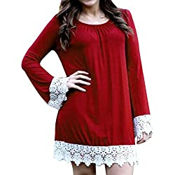 Damen Kleid, MOKINGTOP Frauen Herbst Winter Spitze Spleißen O Ansatz beiläufiges Kleid (XL, Rot)