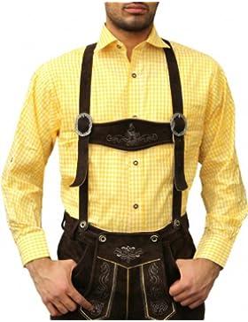 Fasching & Karneval Trachtenhemd Kostüme Trachtenmode Gelb kariert