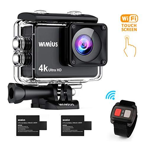 WiMiUS Action Cam 4K 16MP Touch Screen WiFi HD Action Kamera Wasserdichte Unterwasserkamera 30M Sport Camera 170° weitwinkel Objektiv mit Fernbedienung 2 Akkus 1050mAh und Zubehör Kit