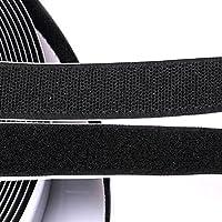 شريط لاصق ذاتي اللصق 0.8 بوصة ذاتي اللصق أسود لاصق وحلقة 5 ياردات شريط خلفي لاصق قابل لإعادة الاستخدام، 4.1 متر