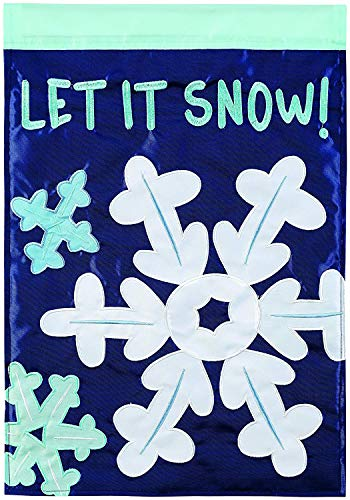 CHKWYN Home Accents Let It Snow Flakes Trends Double Applique Garden Flag for Party Outdoor Home Decor Size: 28-inches W X 40-inches H Side Drape Applique