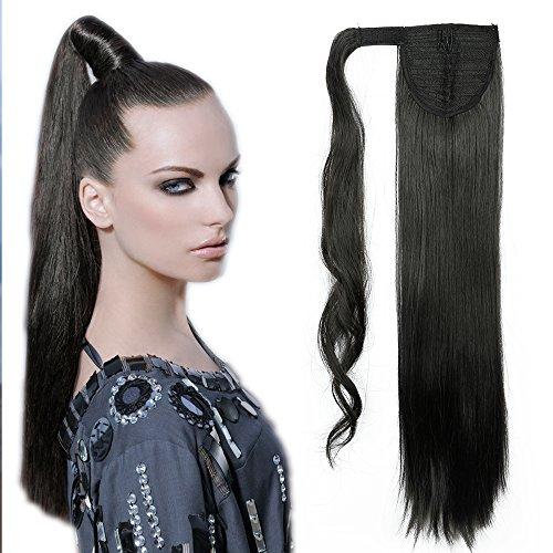 58cm extension clip coda di cavallo capelli sintetici lunghi lisci ponytail extension - nero naturale
