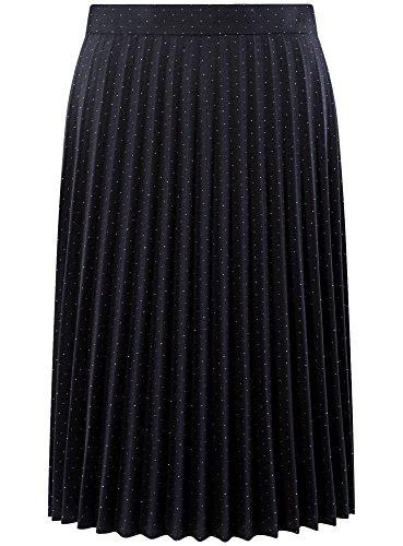 oodji Collection Femme Jupe Gaufrée Longueur Genou Bleu (7912D)