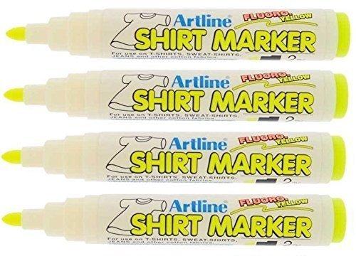Tinte Gelb T-shirt (Artline EKT T-Shirt Markierstifte - 4 stück - Fluoro Gelb)