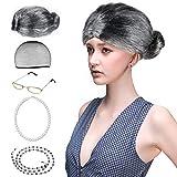 Beelittle Old Lady Kostüm Großmutter Cosplay Zubehör Set - Oma Perücke Perücke Kappe Brille Brillen Ketten Armband Perlenkett