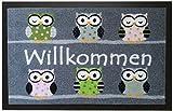Trendstern Trendprodukteshop Fußmatte Fußabtreter Schmutzmatte Motiv Design Eule OWL
