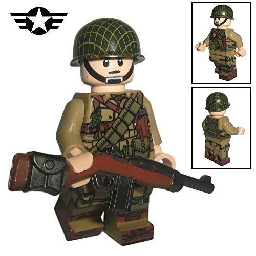 Custom Brick Design - WW2 Serie - US Airborne Soldat V.1 Figur - modifizierte Minifigur des bekannten Klemmbausteinherstellers und somit voll kompatibel zu Lego