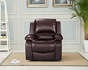 Lovesofas Valencia 3 2 1 Seater Bonded Leather Recliner Sofa Suites - Brown (1)