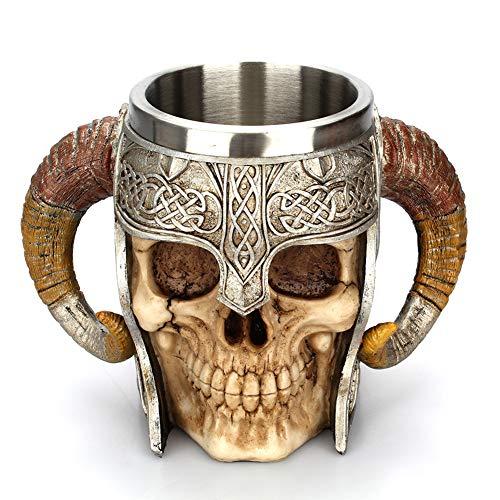 Totenkopf Tasse - Wikinger Tasse aus Edelstahl, NFYOI Wikinger Edelstahl Totenkopf Kaffeetasse...