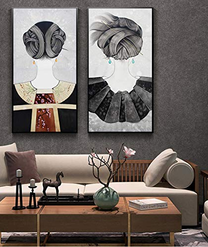 Traditionelle Chinesische Schöne Antike Kostüme Maid Frisur Baumwolle Gemälde Abstrakte Poster Wandbilder Für Wohnkultur 40X80 cm * 2 Ohne Rahmen (Chinesische Antike Kostüm)