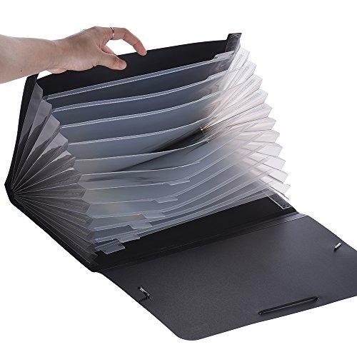 Aibecy Porte-documents Trieur à Soufflets en Couleur 13 Compartiments A4 Format - NOIR/BLEU/ROUGE/VERT