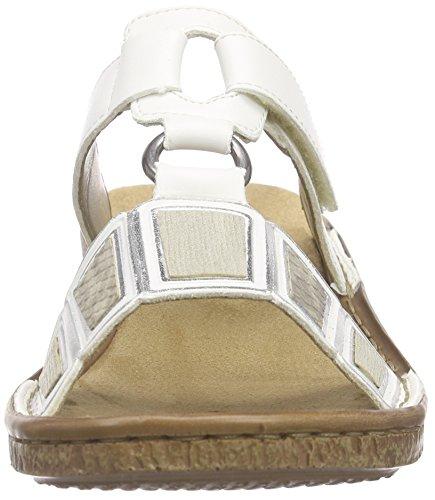 Rieker - 62830 Women Mules, Ciabatte Donna Bianco (Weiß (weiss/hay/crema / 80))