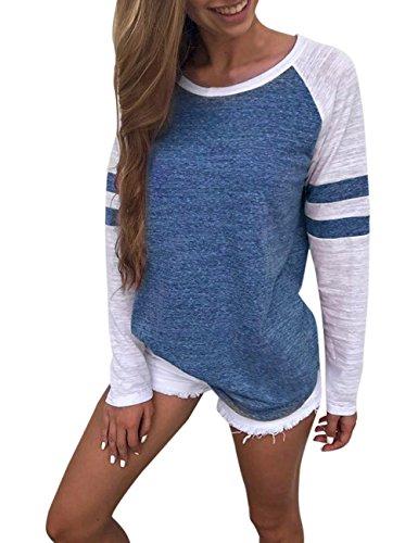 LEvifun Women Raglan Shirt On Sale Clearance Ladies Cheap Casual Striped Patchwork Baseball Tee Tops Blouse Tunic (Blue, XL)