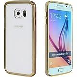 Gilsey Case Samsung Galaxy S6 Aluminium Schutzhülle Bumper Case ?Champagner + Panzerglasfolie