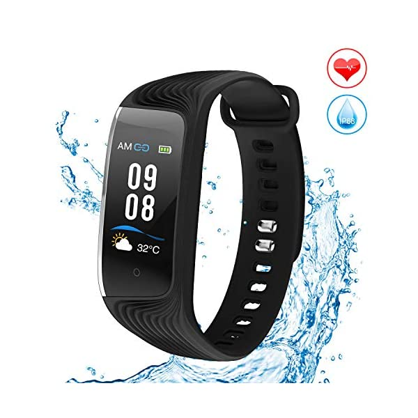HONITURE Fitness Tracker Heart Rate Monitor Watch With Colour Screen Activity Tracker IP68 Waterproof Step Calorie Counter Sleep Monitor GPS Pedometer Smart Watch For Kids Women Men