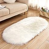 MMLC Spitzenqualität Lammfellimitat Teppich, Lammfellimitat Teppich Longhair Fell Optik Nachahmung Wolle Bettvorleger Sofa Matte (White, 60x100cm)