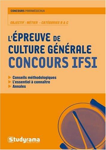 L'épreuve de culture générale Concours IFSI