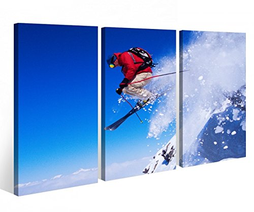 Leinwandbild 3 Tlg. Skifahrer Ski Sport Schnee Alpen Leinwand Bild Bilder auf Keilrahmen Holz - fertig gerahmt 9O942, 3 tlg BxH:120x80cm (3Stk 40x 80cm)