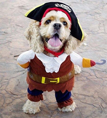 Imagen de l peach disfraz de pirata ropa traje uniforme para mascotas animal doméstico gato perro con dos patas y gorro para halloween navidad m alternativa