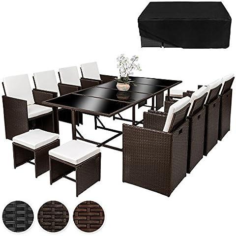 TecTake Conjunto muebles de jardín en ratán sintético comedor juego 8+4+1 + funda completa | tornillos de acero inoxidable | disponible en diferentes colores (Marrón antigüedad | No.