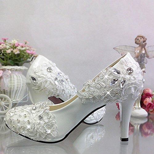 JINGXINSTORE Argento lato fiore di pizzo cristallo scarpe di nozze di perla Strass retrò scarpe matrimonio Bianco