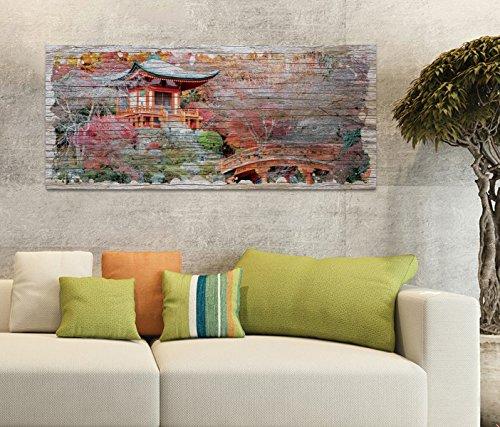 Holzbild 100x40cm japanische Garten rosa Tempel Wasser Spa Landschaft Druck auf Holz Holzbilder Vintage Bild UV Foto Wandbild Wandbilder W0707