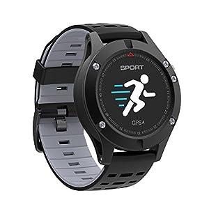 Desconocido Monitor de Ritmo cardíaco GPS Multi-Sport Modo OLED Altímetro Bluetooth Fitness Tracker IP67 Brim F5 Smart Watch, Color Negro
