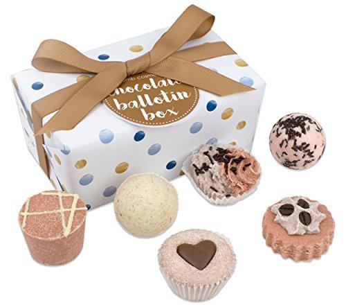Bomb Cosmetics Chocolate Ballotin Gift Pack Geschenkset Badekugel Badebombe Seife Weihnachten X-Mas (1x 6 Stück)